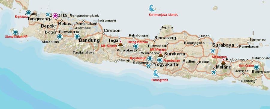 Mapa turístico de Java