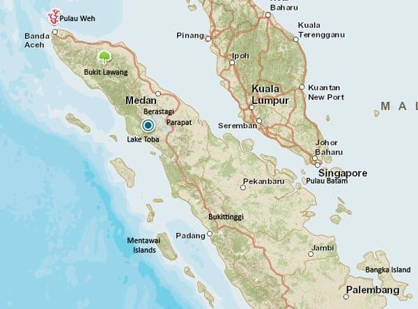 Mapa turístico de Sumatra